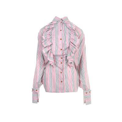 frill detail stripe shirt pink